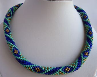 Necklaces, handmade, necklaces for women, jewelry, perfect gift, crochet necklace, bead crochet, free shipping, turquoise