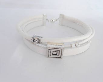Bangle 3 band leather and faux suede, white, 20 cm