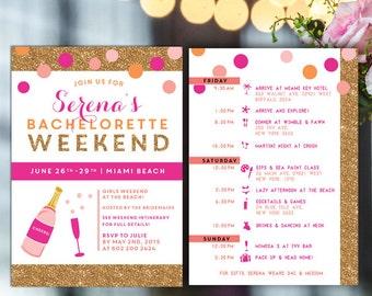 Bachelorette Itinerary, Bachelorette invite with itinerary, Beach weekend invite, weekend invitation, gold glitter, pink bachelorette invite