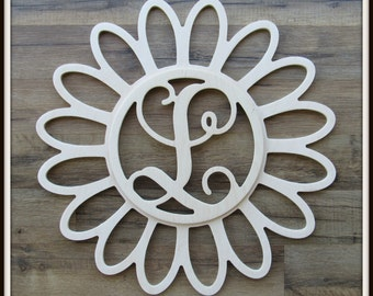 """Daisy Door Hanger with Monogram Letter - Unpainted Wood - 22"""" size - Kitchen - Bedroom - Family - Wooden Letter - Wall Hanging - Flower"""