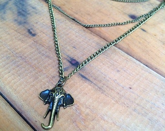 MEMORISE layered chain long drop bohemian necklace with elephant pendant in antique gold