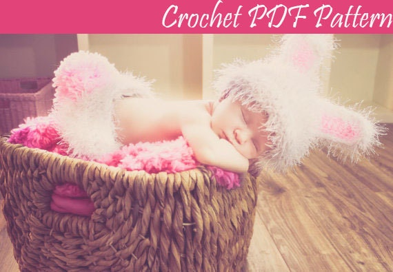 Crochet Pattern Bunny Rabbit Hat And Diaper Cover Newborn Easter