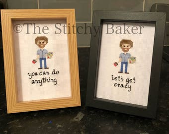 Bob Ross Framed Cross Stitch - Your Choice of Quote and Frame - Gift