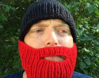 Knit Beard Hat, Black with Red Beard
