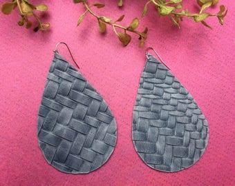 XLarge Teardrop leather earrings, denium blue basketweave leather teardrop earrings, blue leather earrings