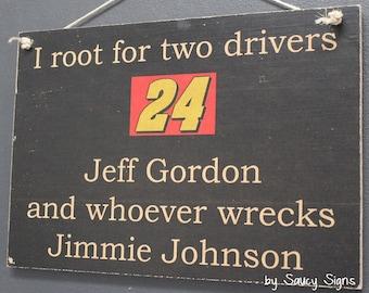 Jeff Gordon versus Jimmie Johnson Racing Drivers Sign