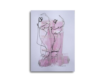 Dance -Ball - Sylvester Drawing 8,3 x 11,7 inch pink silver