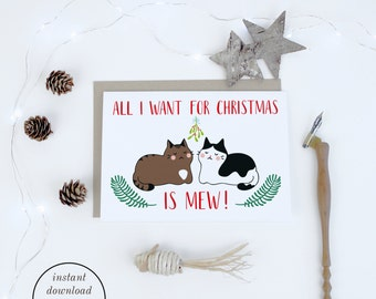 Christmas Card Printables, Romantic Christmas Cards for Wife, Printable Cards, Cat Christmas Cards for Husband, Instant Download