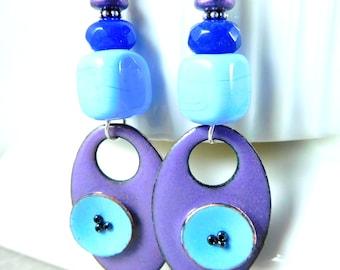 Purple Periwinkle Blue Enameled Copper Dangle Earrings, Long Enamel & Glass Bead Earrings, Modern Jewelry, Unique Bohemian Jewelry,  Artisan