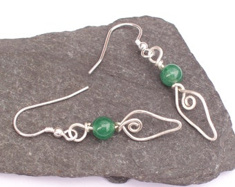 Aventurine Green Earrings with silver wirework leaf , Gemstone Earrings , Sterling Silver Earrings, green and silver