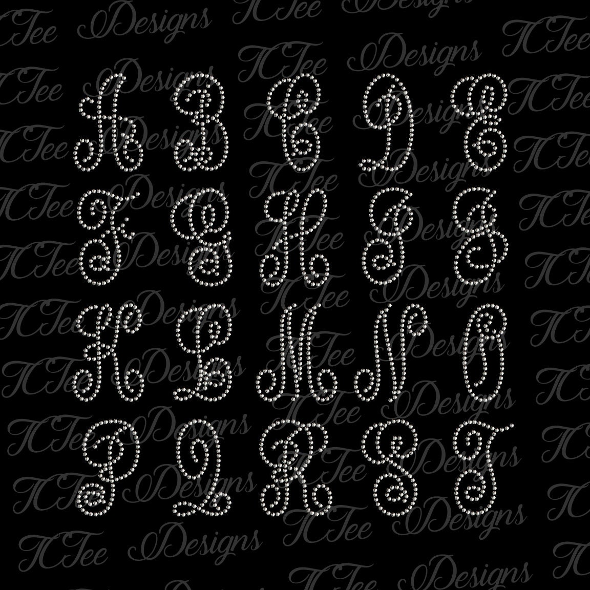 Rhinestone Alphabet SVG Design Download 3 inch Monogram