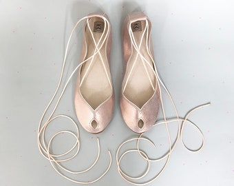 Wedding Shoes Flats. ROSE GOLD Bridal Shoes. Bridal Low Heel Shoes. Bridesmaids Gift. Peep Toe Flats. ROSE Gold Shoes. Leather Ballet Flats
