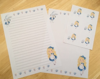 Alice Letter writing paper with 6 envelope seals set #1