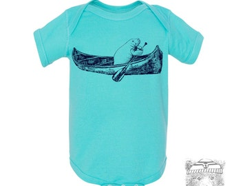 Baby One-Piece MANATEE (in a Canoe) Eco screen printed (+ Color Options) - FREE Shipping