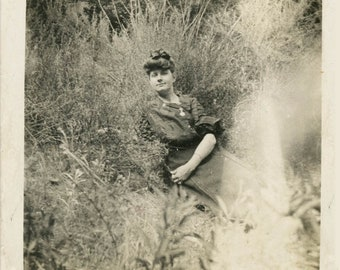 vintage photo 1909 Hair piled up Ethel Bourne Los Angeles Laying in the Bushes California