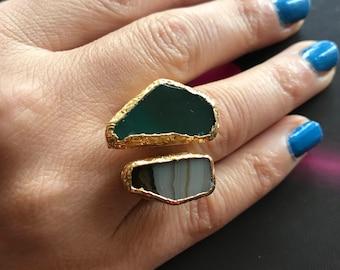 Gemstone Ring , Quartz ring, Green ring,  Gold Filled Ring, Adjustable ring