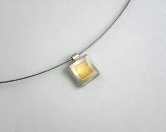 Minimal square charm with 22K gold fused on 925 silver, Simple square charm, Silver and gold necklace, Gift for her, Gold over silver charm