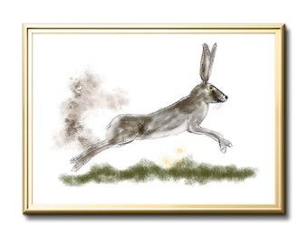 Hare, hare wall art, limited edition hare print. Home decor, March hare, nursery art. Wall art, original hare art. Art print, Mad March hare