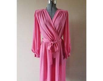 70's Vintage Bits & Pieces Ltd. sheer pink wrap front dress