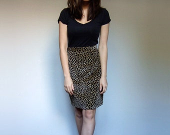 Leopard Print Skirt Pencil Skirt Animal Print Skirt Soft Leopard Skirt Vintage 80s Skirt - Extra Small to Small