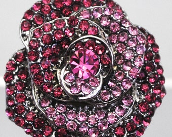 Pink Jeweled Floral Ring/Statement Ring/Rhinestone/Gift For Her/Wedding Jewelry/Under 20 USD/Adjustable