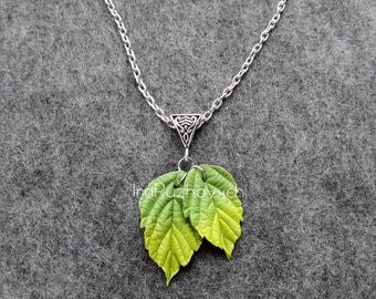 Pendant leaf ,necklace leaves , green, Jewelry handmade, polymer clay