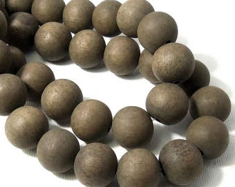 Unfinished Graywood, 14mm - 15mm, Dark Gray to Brown, Round, Smooth, Natural Wood Beads, Large, 16 Inch Strand - ID 2165-DK