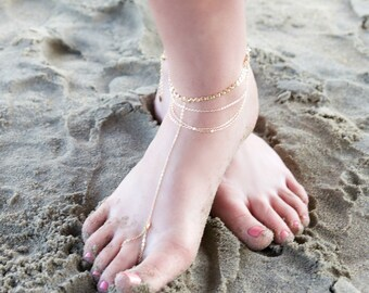 HARLOW BAREFOOT SANDAL-draped chain anklet / foot chain / barefoot sandal / body jewelry / anklets / turquoise anklet