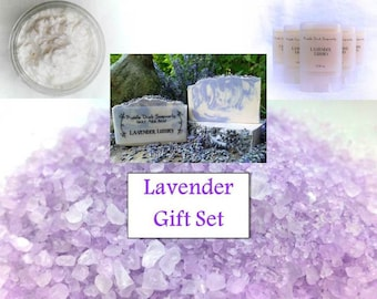 Deluxe Lavender Gift Collection: Goat Milk Soap, Bath Salts, Hand & Body Silk, and Solid Perfume