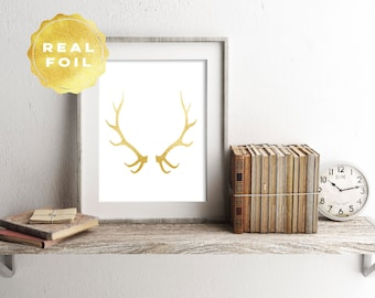 Real Gold Foil Antlers Art Print 4 x 6, 5 x 7, Silver Foil, Trendy, Minimalist, Modern Home Decor, Print Series, Room Decor, Office Decor