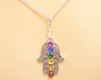 Hamsa Necklace, Chakra Necklace, Reiki Necklace, Hamesh Hand, Protection Amulet, Hand of Fatima, Reiki Jewelry, Khamsa, Evil Eye Charm,Yoga