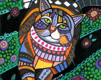50% SALE- Tabby Cat Folk art  Poster Print of painting by Heather Galler  (HG863)