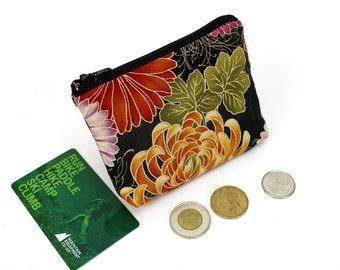 coin purse, change purse, coin pouch, purse, zipper coin purse, Chrysanthemum Black