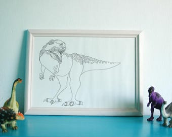 Printable, artwork, dinosaur, T Rex, kids room, colouring in