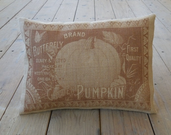 Pumpkin Label Burlap Pillow, House warming Gift, Farmhouse Pillows, Autumn pillows, Thanksgiving, Autumn 27, INSERT INCLUDED