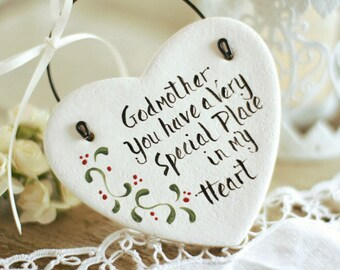 Personalized Godmother gift salt dough heart hanging ornament, Personalised Godparents, Thank you Godmother gift , Personalised white heart