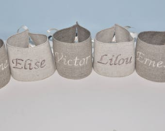 Christmas table decoration christening wedding 10 napkin rings, place card custom embroidered