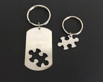 Personalized Puzzle Key Chain Set. Matching Key Chains. Couple Key Chains.Husband Wife Key Chains. You Complete Me Key Chain Set.Anniversary