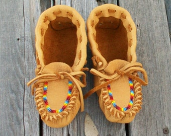Custom children's moccasins , beaded rainbow moccasins , Leather moccasins , Tribal shoes , pow wow regalia , beaded leather moccasins