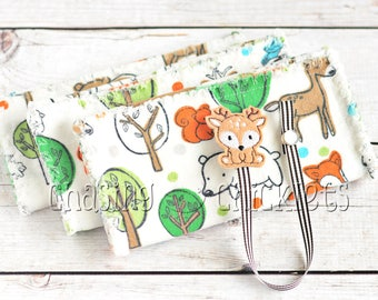 Baby Shower Gift Set // Woodland Ragged Edge Burp Cloths // Deer Pacifier Clip // Baby Burp Cloth Pacifier Clip