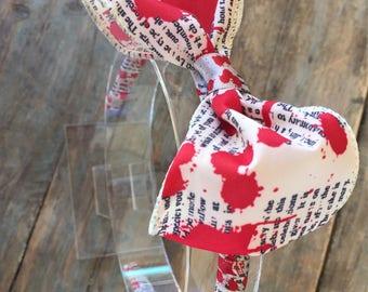 Blood Splattered Bow Tie Headband Hairband