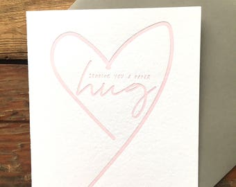 Sending you a paper hug letterpress card