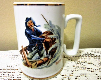 Fathers Day Gift Mug Tankard Stein Vintage Collector Norman Rockwell Braving The Storm blm