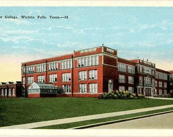 Wichita Falls Texas Junior College Vintage Postcard circa 1920s (unused)