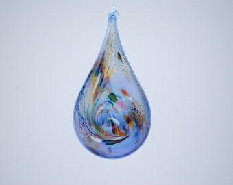 e00-66 Flat Iridescent Tear Drop Ornament Light Blue.
