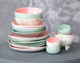 Pink mint mix and match ceramic tableware set consists of dinner plate mini bowl, salad bowl and soup bowl. Kitchen dishes are new home gift