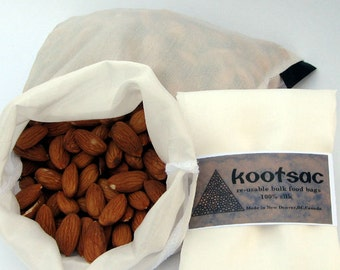 Biodegradable food bag, reusable bulk food bag, snack bag, produce bag, travel food bag, natural silk, white, medium size