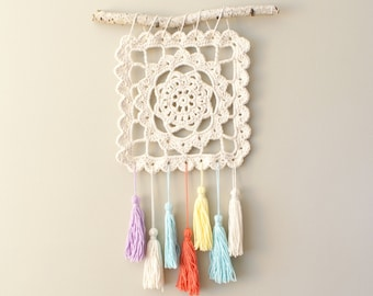 "DIY Crochet PATTERN - Dreaming of Granny, Granny Square, 10.5"" square Wall Hanging (HomDec010)"