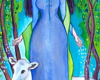 Pagan Goddess Art - Boann, Celtic Goddess of Creativity and Inspiration