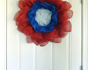 Patriotic Flower Wreath, Daisy 4th of July wreath, Paper Mesh Sunflower wreath, July 4th Door Hanger, Red White Blue Front door wreaths